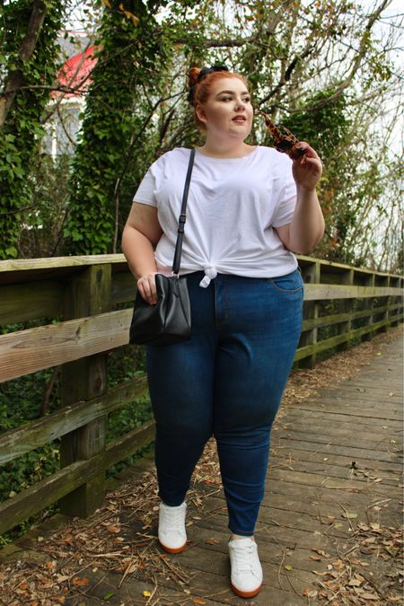 #LTKcurves #StayHomeWithLTK #LTKsalealert http://liketk.it/36x1W #liketkit @liketoknow.it Loving these @target pieces from the Ava & Vic collection! These jeans fit so well, No back gap, perfect length! Also who doesn't love a white tee!