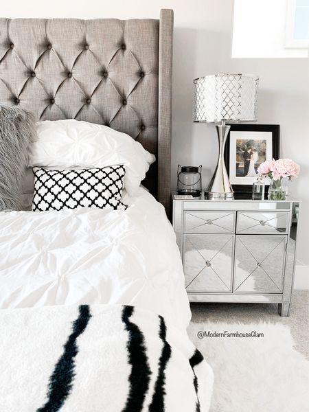 Master bedroom furniture at Modern Farmhouse Glam. Mirrored nightstand, tufted headboard, king-size bed, linens, bedding, lamp, tableside lamp, nightstands, home decor  #LTKSale #LTKSeasonal #LTKhome