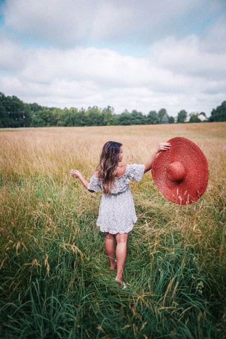 summer dress, off the shoulder dress, summer trends, oversized hat, shein haul, summer ootd,   #LTKunder50 #LTKunder100 #LTKshoecrush