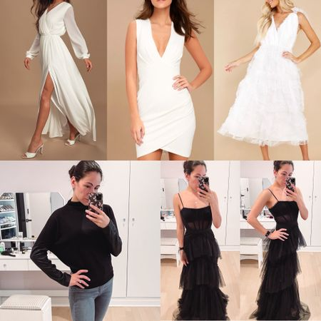 Last week's most loved in clothes: three pretty white dresses including a maxi dress, mini dress, and midi dress. My black corset and tulle gown from BCBG that would be a stunning wedding guest dress, and my new sweater with faux leather sleeves from express   #LTKSeasonal #LTKSale #LTKunder100
