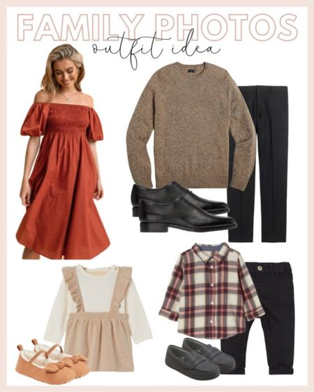 Family photo outfit ideas: rust colored dress with a light brown little girls dress, little boys plaid dress shirt and a brown men's sweater for him.   #LTKunder100 #LTKfamily #LTKHoliday