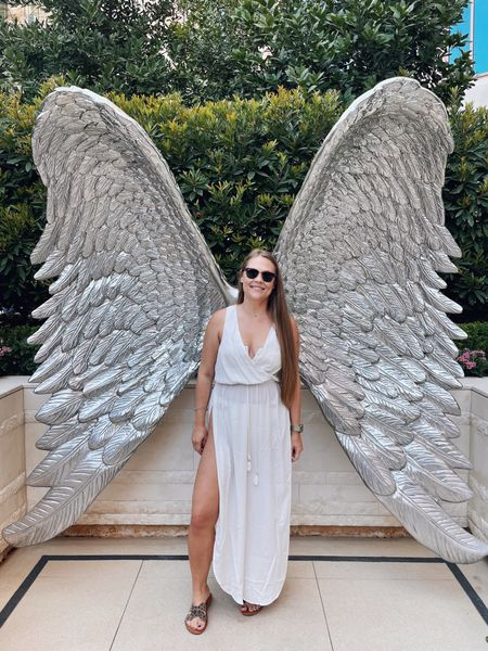 Feeling half Greek goddess half angelic in this long white pool cover-up and a cream + mesh bikini from L*Space  [ wearing a medium in all 3 pieces ]