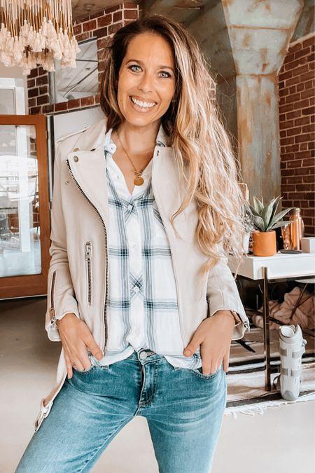 Nsale, Nordstrom sale, leather jacket, allsaints, blouse, jeans, workwear   #LTKstyletip #LTKsalealert #LTKworkwear