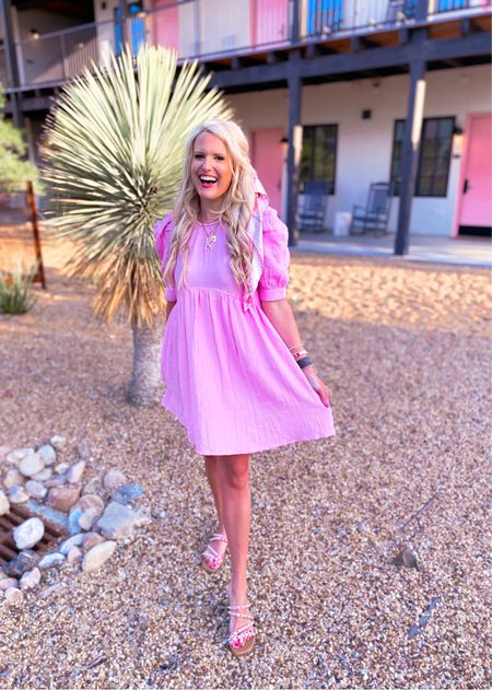 Pink dress size L Runs big so size down use code KIM15 for 15% off  Pink studded sandals TTS Gold initial necklace - Nordstrom sale Designer inspired earrings  Initial amazon necklace  Amazon hair scarf pink   Vacation outfit, baby shower outfit , date night outfit pink dress, summer outfit   #LTKshoecrush #LTKsalealert #LTKunder50