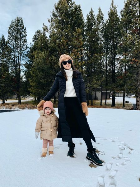 Cole Haan snow boots. My favorite snow boots of all time. Lightweight and comfortable!   Coat - Bernardo xs Sweater - Madewell xxs (old) Leggings - Amazon (fleece lined) xs petite Boots - Cole Haan 5.5  Beanie and mittens - A&F (old)  #LTKSeasonal #LTKshoecrush