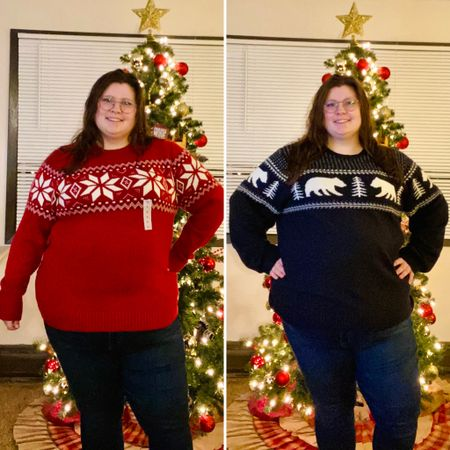 Low quality photo to show off some high quality sweaters! Took a chance and got some holiday sweaters from the old navy men's department and they are amazing! The red one is an XL I bought for my BF and it fits me well as a fitted look! And the black one is an xxxl I got for myself, and it fits oversized! I'd say an xxl would be my ideal fit. I usually wear a 22/24 or 3x at most plus size retailers. There are still some xl-xxxl available in 4 patterns, so I'd scoop them up while they're still there! Currently on sale for $26 in cart!  #LTKsalealert #LTKcurves #LTKstyletip