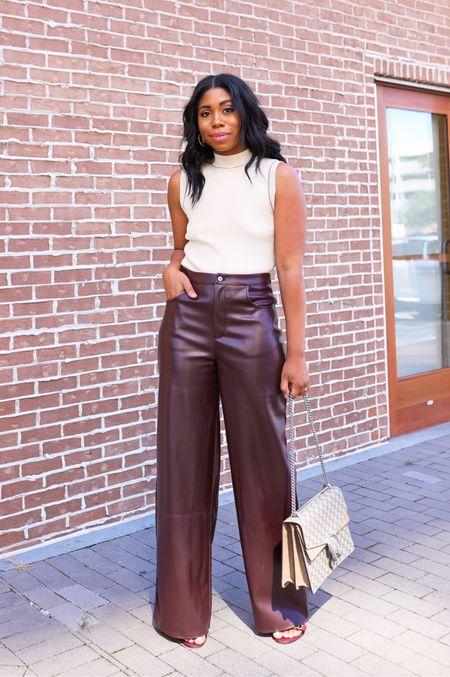 Fall fashion outfit, fall style, sleeveless sweater, Leather pants, Gucci bag, office, work style   #LTKworkwear #LTKitbag #LTKSeasonal