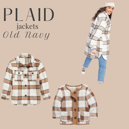 Plaid jackets for women, girls and babies from Old Navy. All on sale!   #LTKbaby #LTKsalealert #LTKGiftGuide