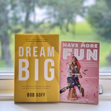 🎉 BACK 2 BACK CHAMPS! 📣 These two books! Midway way through listening to Dream Big by @bobgoff I had to buy the physical book so I could see the words forever. Then after I finished it @audible recommended Have More Fun by @mandyarioto I'm guessing because Bob wrote the forward in it. I started listening because I was curious and when I finished it I went straight to Barnes and Noble to have it on my bookshelf forever, too. If you swipe left, I'm quoting the parts that stood out to me but I loved them and their perspective as a whole!  If you're interested, I've provided a shortcut to my Book List in my Amazon shop via the link in my profile @tellittoyourneighbor or screenshot this pic to get shoppable product details with the @liketoknow.it shopping app. Thank you!   #liketkit http://liketk.it/3jXBN #LTKfamily #LTKkids #LTKworkwear @liketoknow.it.family
