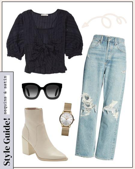 Cute outfit idea for early fall! #falloutfits #booties #jeans #fallootd   #LTKshoecrush #LTKSeasonal #LTKunder50