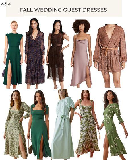 Fall wedding guest dresses!   Silk midi dress Sequin dress Reformation midi dresses Green dresses Fall dresses Floral dresses Wedding guest dresses