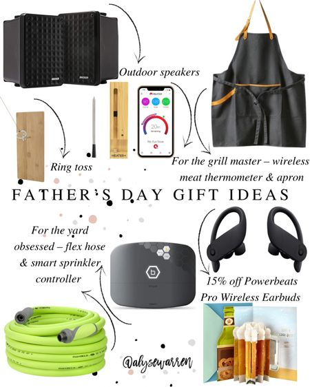 All avail on Amazon Prime or for Target in-store pickup!  Father Day gift ideas, gift guide, outdoor speakers, patio, grilling apron, Hearth and Hand by Magnolia at Target, ring toss, outdoor games, water hose, Amazon finds, sprinkler, wireless earbuds, pop up card   #LTKmens