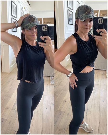 Scallop black leggings are my fav- wearing size 4.  Crop racks on sale come in a few colors  Camo Louis Vuitton hat on sale  Designer inspires Apple Watch band- my new fav   #LTKunder100 #LTKsalealert #LTKfit