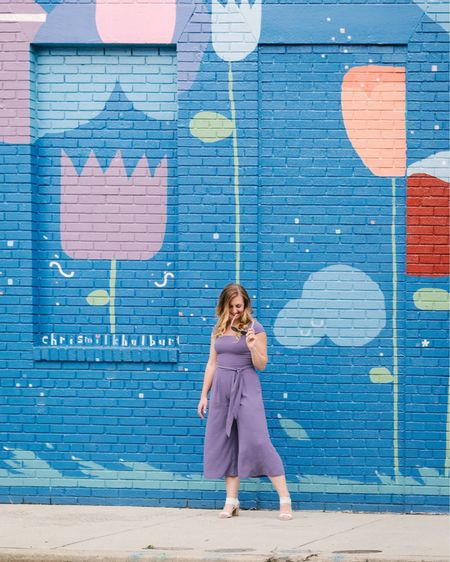 A weekend ready purple cropped jumpsuit that makes for the perfect travel outfit or brunch look from Gal Meets Glam Collection. #summeroutfit http://liketk.it/2CIuT #liketkit @liketoknow.it