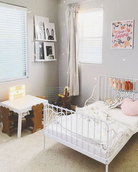 Disco magic ✨ Had to capture our perfectly imperfect big girl bedroom moment before the sunshine went to sleep. This room has been challenging just as far as me being decisive on a design plan. I'm really happy about where it's at and maybe before she's a teenager with her own ideas I'll finish it 🤣 I linked what I could in my @liketoknow.it several items are from my childhood bedroom or not available anymore. I will also be working on a tutorial for the Pom Tassel Hanging 🧡 Shop your screenshot of this pic with the LIKEtoKNOW.it shopping app http://liketk.it/2RivJ #liketkit #LTKkids #LTKhome #LTKfamily