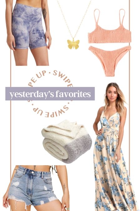 Yesterday's favorites! Electric picks necklace gold jewelry butterfly necklace lululemon bike shorts athleisure fitness apparel amazon bikini pink bathing suit amazon prime barefoot dreams throw fleece throw! Wedding guest dress floral maxi nasty gal jean shorts distressed Denim gift for her gift for mom #LTKswim #LTKunder50 #LTKhome http://liketk.it/3hSlk #liketkit @liketoknow.it