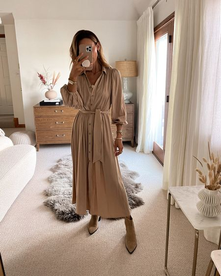 The most gorgeous maxi dress ever! Button up and pleated with bubble sleeve xs Pairs well w booties for fall or sandals for summer. Drape a coat or a long duster cardigan over it for colder days Under $100 - fall style - fall outfits   #LTKunder100 #LTKstyletip #LTKSeasonal