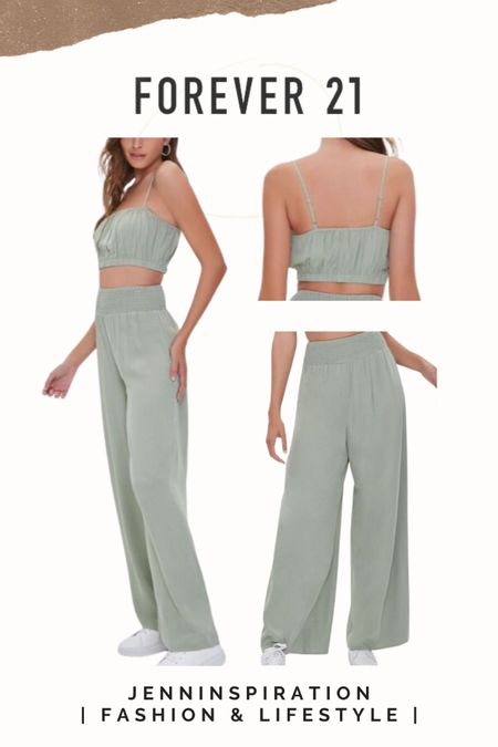 Forever 21 ✨LTK DAY SALE✨   Crop top Wide leg pantd  Two piece set   summer, summer sale, summer outfits, summer time, beach day, casual day, girls night out, date night, cute, trendy, aesthetic, soft girl, picnic, travel, spring time, easy to wear, crop top skirt set, forever 21 sale, ltkday http://liketk.it/3hzre   #liketkit @liketoknow.it #LTKsalealert #LTKshoecrush #LTKstyletip Follow me on the LIKEtoKNOW.it shopping app to get the product details for this look and others
