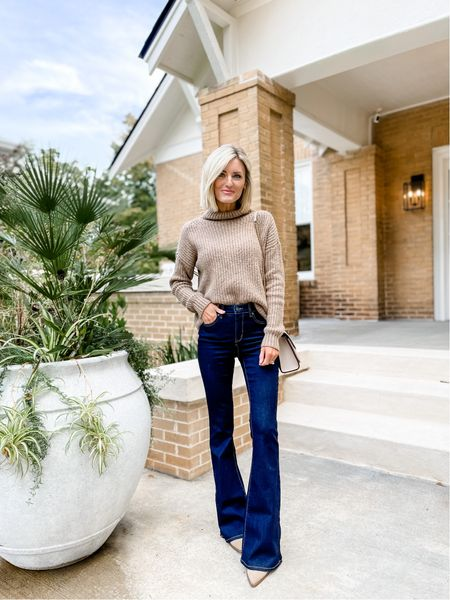 Xs in mock neck sweater from Anthro and 0 in jeans from Walmart - under $30!