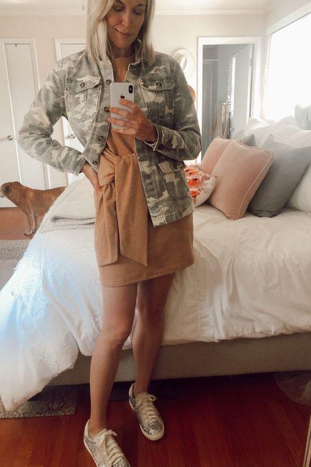 Casual spring outfit 🌸  Camo jacket on sale! Spring dress under $25 Glitter sneakers on sale under $100  http://liketk.it/2M9BH @liketoknow.it #liketkit #LTKspring #LTKunder100 #LTKsalealert  Amazon, spring dresses, camouflage, Nordstrom, golden goose dupes, sparkly sneakers, silver sneakers, spring look