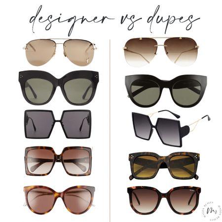 Designer vs dupes, sunglasses, dupe sunglasses, designer sunglasses   #LTKunder50 #LTKstyletip