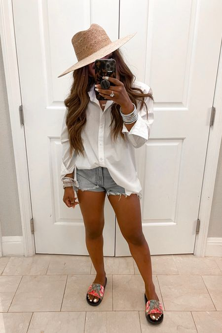 White button down size small Jean shorts run true to size, Gucci slides are my absolute favorite run true to size, lack of color hat is perfect for summer! You can instantly shop my looks by following me on the LIKEtoKNOW.it shopping app @liketoknow.it http://liketk.it/3jNeg #liketkit