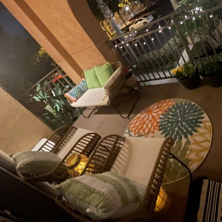 cozy summer small space patio 💛 patio furniture, lanterns, outdoor decor, outdoor pillows, outdoor rug. http://liketk.it/3fWg7    #LTKhome #LTKsalealert #LTKunder50 #liketkit   @liketoknow.it @liketoknow.it.home