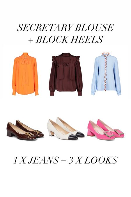 2. LOOK: SECRETARY BLOUSE + BLOCK HEELS  I love this style of blouses and shoes so much. I know they can look a bit prissy together so I like to break the look denim. As a result I have something really cute but also really cool.  #LTKworkwear #LTKshoecrush #LTKstyletip