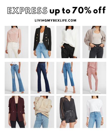 Save up to 70% off clearance at Express. Save on denim, sweaters, jackets, blazers, jackets, shorts, jeans, etc.   #LTKsalealert #LTKcurves #LTKunder50