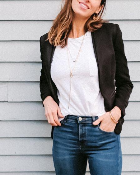 Go to outfit - denim, white T shirt, blazer + booties. #LTKstyletip #LTKunder50 #LTKunder100 #LTKshoecrush @liketoknow.it Shop your screenshot of this pic with the LIKEtoKNOW.it app #liketkit http://liketk.it/2KWky