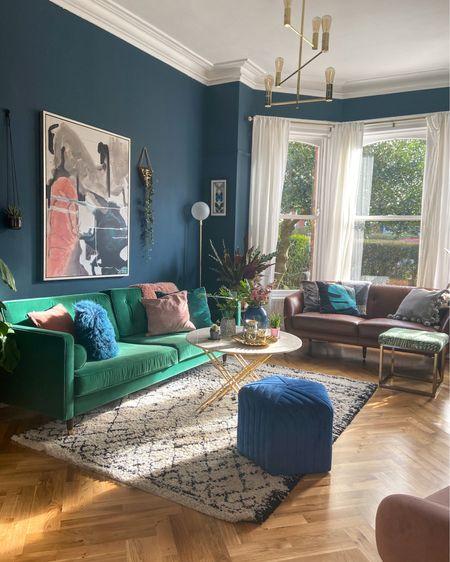 http://liketk.it/2OTv3 #liketkit @liketoknow.it green sofa, living room design, living room decor, living room inspiration, Hague blue farrow and ball, plant pots , Moroccan rug, @liketoknow.it.home #LTKhome #StayHomeWithLTK #LTKeurope @liketoknow.it.europe