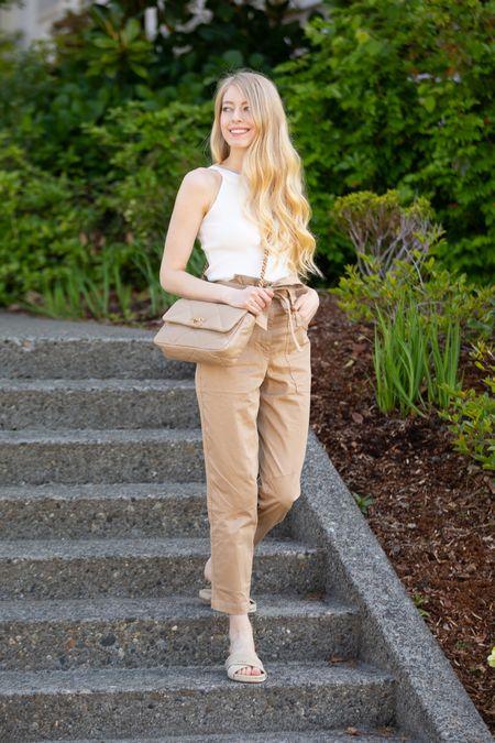 Beige cargo pants high waisted with belt tie, size 0 White tank halter neck Christian Dior sandals    #LTKfit #LTKstyletip #LTKSeasonal