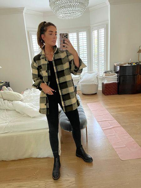 OOTD, Fall Style, Black Boots, Plaid Shacket, Shirt Jacket