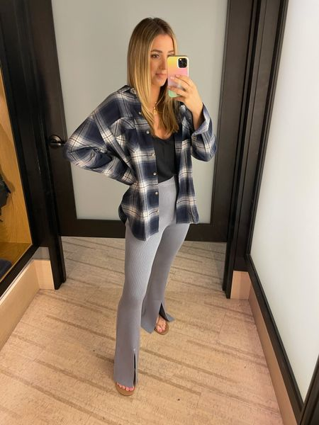 """These comfy pants are a bit long! I am 5'4"""" for reference- the cami and plaid button down top run tts   #LTKstyletip #LTKunder100 #LTKSale"""
