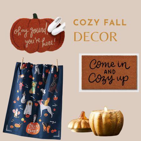 Cozy fall home decor, pumpkin doormat, anthropologie, pumpkin candle, fall candle, Halloween decorating, Halloween decorations   #LTKunder50 #LTKhome #LTKHoliday