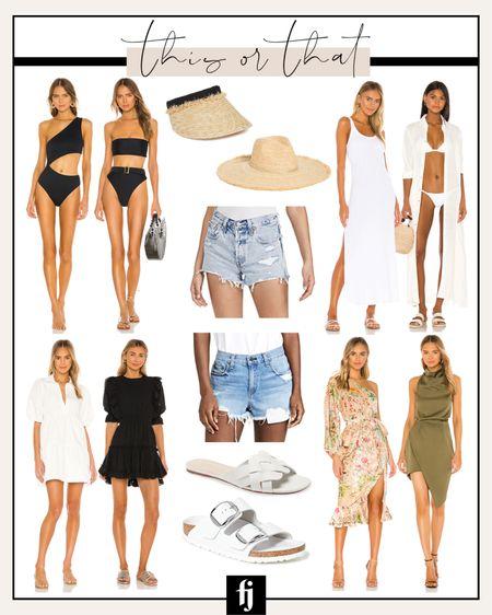 One-piece swimsuit, black bikini, visor, straw hat, swim cover-up, white dress, black dress, denim shorts, jeans shorts, sandals, white sandals, Birkenstock's, cocktail dress, wedding guest dress, vacation dress, beach vacation http://liketk.it/3ijGl #liketkit @liketoknow.it #LTKswim #LTKtravel #LTKwedding