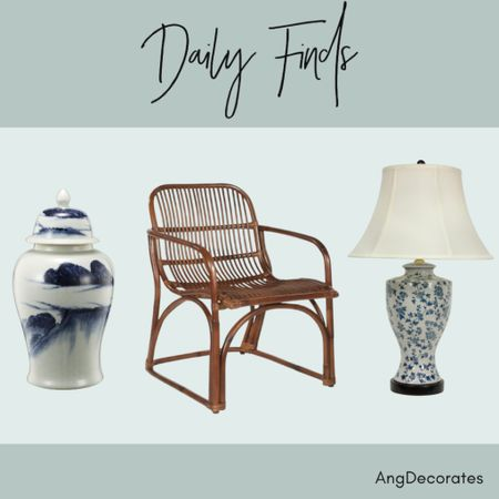 Daily Finds: a large ginger jar, a rattan chair, and a blue and white lamp—all from Walmart.com  #LTKhome