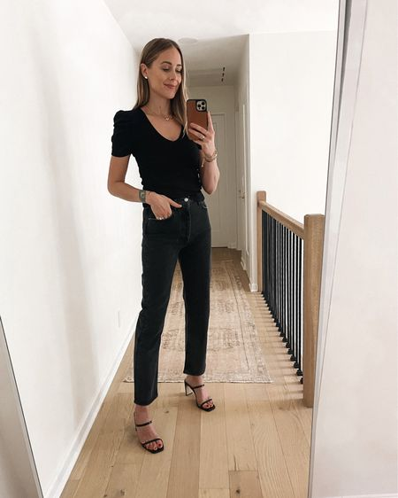 #amazonfashion black puff sleeve top with black jeans and black heeled sandals #falloutfit   #LTKshoecrush #LTKunder100 #LTKstyletip