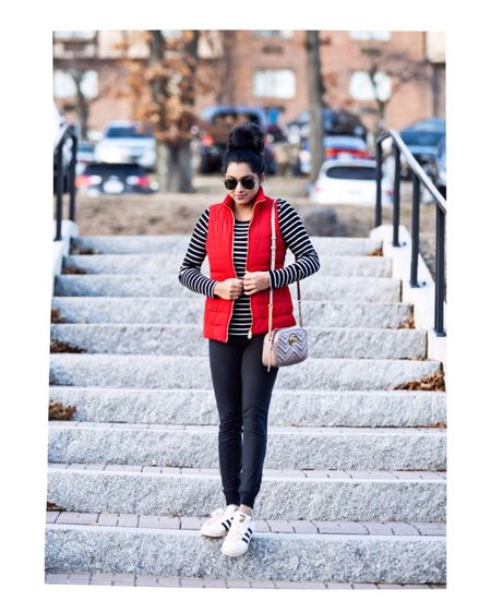 <Casual #ootd>❤️ Layered my favorite striped top with puffer vest! #lightlaters #puffervest #basics Outfit details- http://liketk.it/2zkvz #liketkit @liketoknow.it