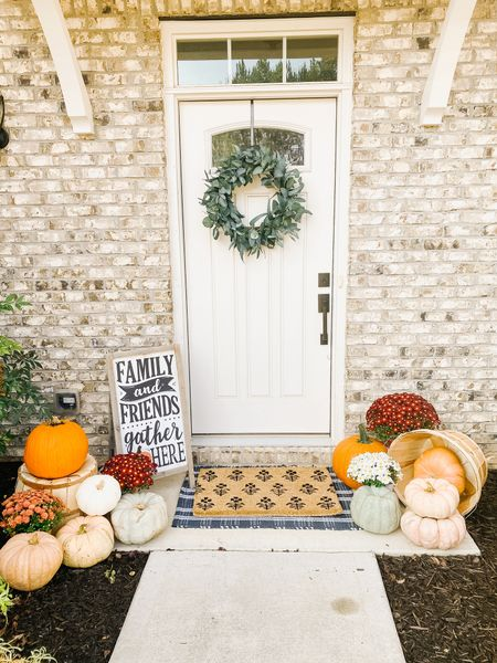 Fall front porch decor is complete 🙌 I had so much fun picking out all the pumpkins with Beckam. He thinks they are little seats for him 👻    #LTKhome #LTKunder50 #LTKstyletip