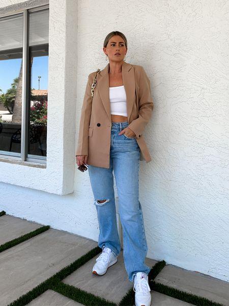Wardrobe essentials I'm loving. 🤎 #blazer #jeans #denim #hm #reebok #sneakers #amazonfashion #momstyle #fallfashion #basics #staples   #LTKunder50 #LTKshoecrush #LTKunder100