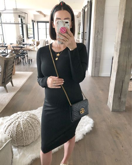 F A S H I O N // The perf $15 LBD for fall!!🖤 Y'all need this in your closet - it's a wardrobe staple! Loving the long sleeve, knit style! Dress it up with booties or down with fancy sneakers🙌🏻 I'm wearing a L for my bump!🤰🏻 Shop it, my go-to black crossbody, fancy Gucci-like headband and jewels here on the @liketoknow.it app!!  #ltkfall #lbd #dress #falldress #headband #fallfashion #falloutfit #liketkit #LTKunder50 #LTKbump #maternity #maternityfashion // http://liketk.it/2F5OM