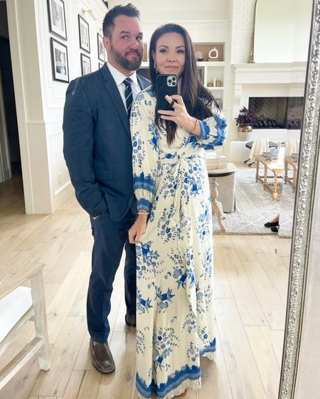 Favorite blue & cream maxi dress- great summer to fall transitional piece! Chris fav affordable men's suit linked! Slim cut.  Natalie Martin dress  Summer wedding dress   #LTKstyletip #LTKmens