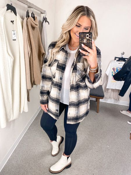 Plaid Shacket Nsale outfit fall outfit idea boots on sale   #LTKshoecrush #LTKstyletip #LTKunder50