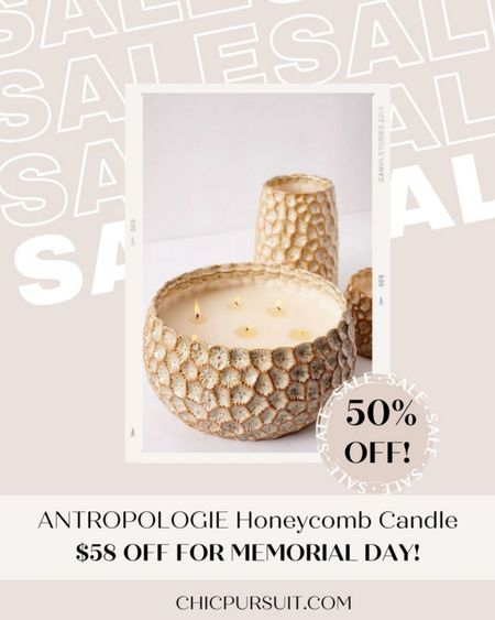 SALE ALERT! I love, love, love this beautiful honeycomb candle from Anthropologie, and it's 45% off on Memorial Day sale! #LTKsalealert #LTKSpringSale #LTKhome @liketoknow.it http://liketk.it/3gerL #liketkit