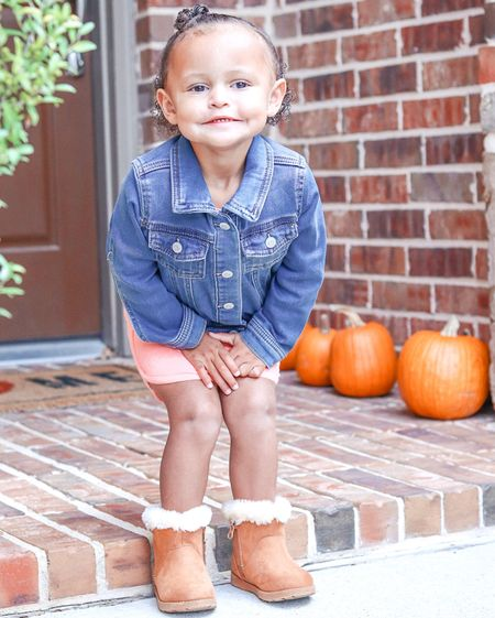 Mara was pretty excited, when I bought home this denim jacket and boots (or as she calls them —boops).   She literally put them on, right after breakfast and asked me to take pictures of her. #itsfallyall  #LTKkids #LTKfamily