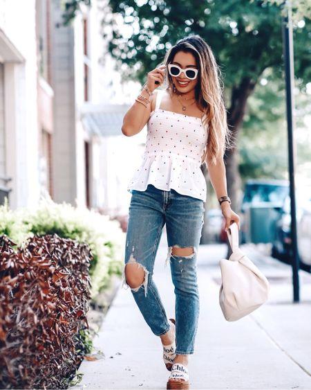 Smocked polka dot peplum top - XSP / size up  Ripped mom jeans - 24 short / TTS Chloe platform sandals wedges  Amazon prime drop white bag   @liketoknow.it http://liketk.it/3hY0r #liketkit #LTKsalealert #LTKunder50 #LTKstyletip
