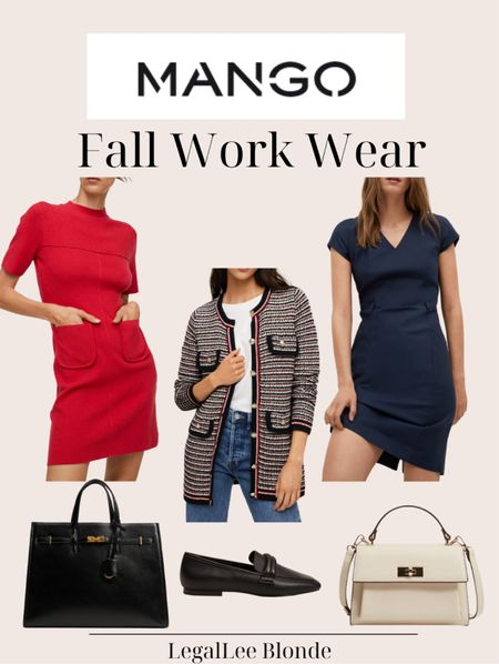 Fall work wear favorites! These would be great for a day in the office! - work dresses - wear to work - sheath dress - women's cardigan - office outfit - business casual - professional outfit - pockets knit dress - red dress - button knit cardigan - pebbled shopper bag   #LTKunder100 #LTKworkwear #LTKstyletip
