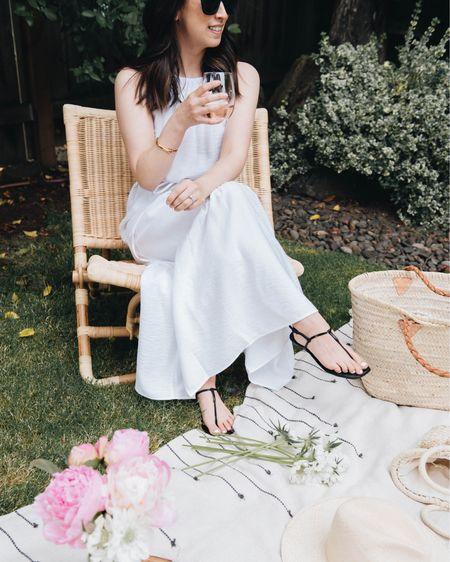 White petite dresses. White summer dress  Dress - Banana Republic petite 0 Sandals - Banana Republic 5  http://liketk.it/3eMSh #liketkit @liketoknow.it #LTKshoecrush
