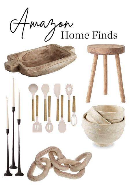 Amazon finds for the home decor enthusiast. Trending neutral home accents and accessories. Paper mache bowls, stools, bread dough bowl, utensils and spatula candle sticks holders wood chain link shelving decor kitchen and entertaining  #LTKunder100 #LTKhome #LTKGiftGuide